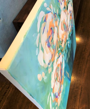 (CreativeWork) Pollen - Flowers Series by Jen Shewring. Acrylic. Shop online at Bluethumb.