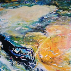 (CreativeWork) Swimming with my shadow by Debra Dougherty. arcylic-painting. Shop online at Bluethumb.