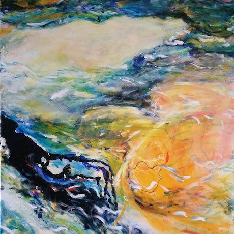 (CreativeWork) Swimming with my shadow by Debra Dougherty. Acrylic Paint. Shop online at Bluethumb.
