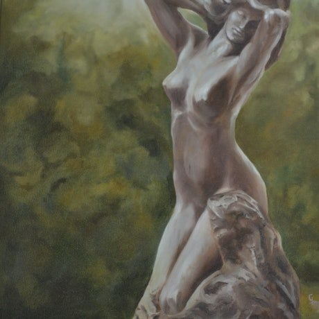 (CreativeWork) Kneeling Fauness by Rodin by Glenn McLeod Leaity. Oil Paint. Shop online at Bluethumb.