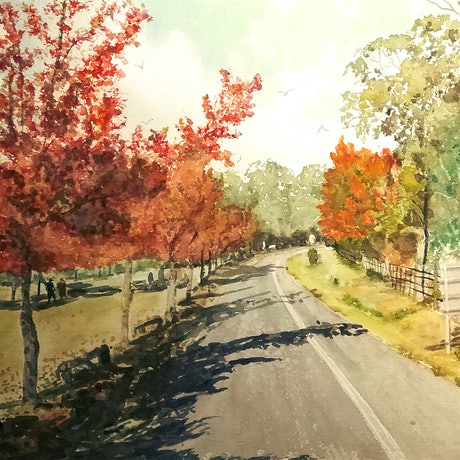 (CreativeWork) Autumn in Mount Wilson  by Monika Scheffler. Watercolour Paint. Shop online at Bluethumb.