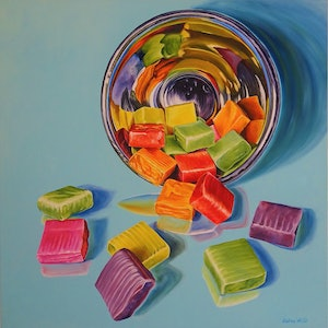 (CreativeWork) Sugar Bursts by Delma White. oil-painting. Shop online at Bluethumb.