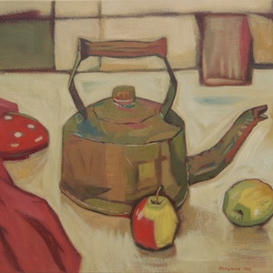 (CreativeWork) Singing Teapot by Tetyana Khytko. oil-painting. Shop online at Bluethumb.
