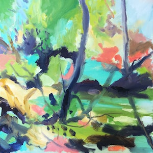 (CreativeWork) Creeklet by Nicole Foxall. oil-painting. Shop online at Bluethumb.