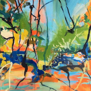 (CreativeWork) Riverside Sounds by Nicole Foxall. oil-painting. Shop online at Bluethumb.