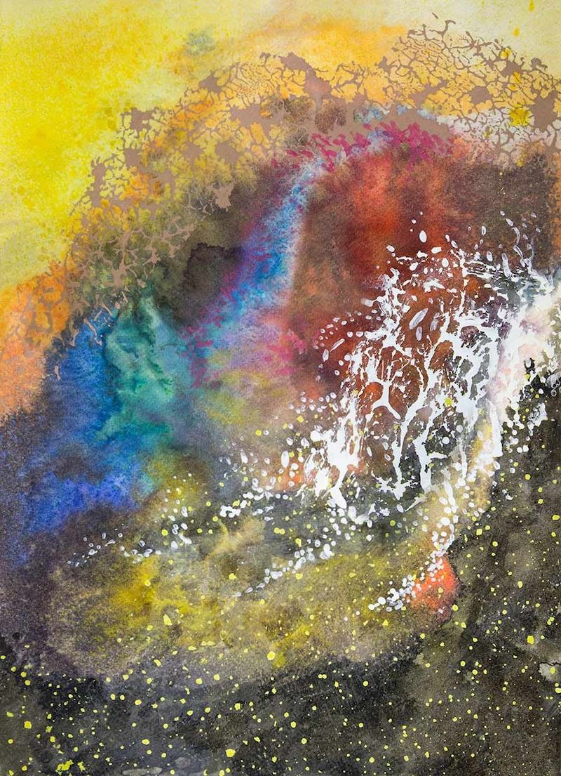 """(CreativeWork) """"Organic ii""""  - small original painting in watercolour, ink, acrylic, collage on watercolour paper by John Louis Lloyd. mixed-media. Shop online at Bluethumb."""