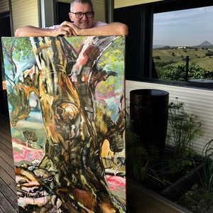 (CreativeWork) GIANT GUM with Trevor by Trevor Purvis. oil-painting. Shop online at Bluethumb.