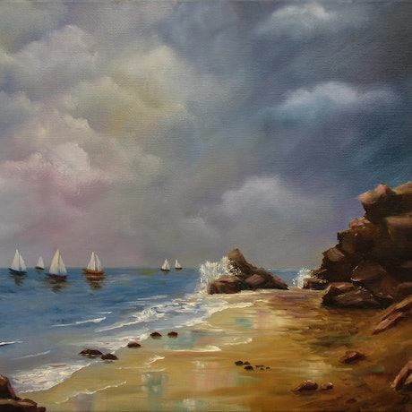 (CreativeWork) Sunday Sailing, Black Rock by Debra Dickson. Oil Paint. Shop online at Bluethumb.