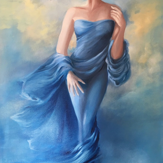 (CreativeWork) A Moment in Time by Kathryn Johnston. oil-painting. Shop online at Bluethumb.