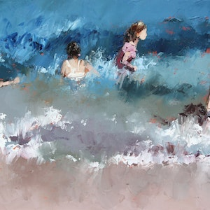 (CreativeWork) Braving The Waves XI by Claire McCall. oil-painting. Shop online at Bluethumb.