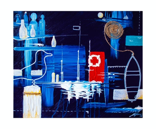 (CreativeWork) That Sunday, That Harbour by Matt Connor. Acrylic. Shop online at Bluethumb.