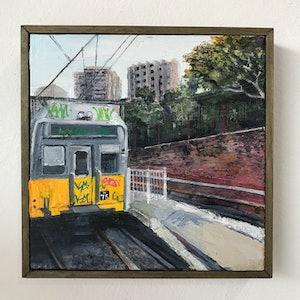 (CreativeWork) Redfern Station by Karen Farmer. oil-painting. Shop online at Bluethumb.