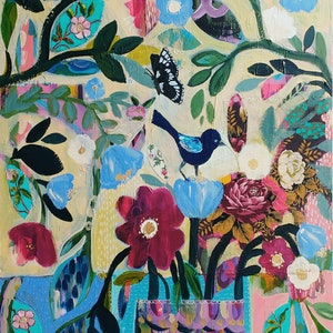 (CreativeWork) Fairy Wrens and Flowers by Sandra Oost. mixed-media. Shop online at Bluethumb.