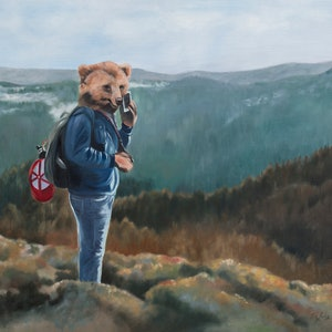 (CreativeWork) Bearly Connected by Mia Laing. oil-painting. Shop online at Bluethumb.