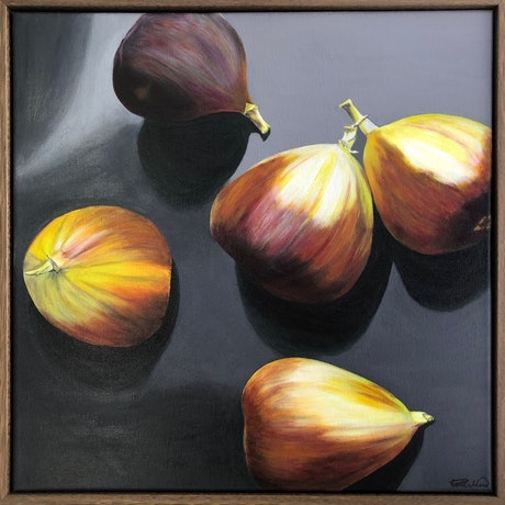 (CreativeWork) Fresh Figs - Framed by Patricia Hillard. Acrylic Paint. Shop online at Bluethumb.