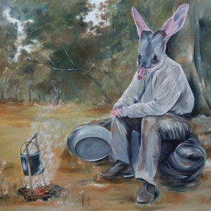 (CreativeWork) Down On His Luck by Mia Laing. oil-painting. Shop online at Bluethumb.
