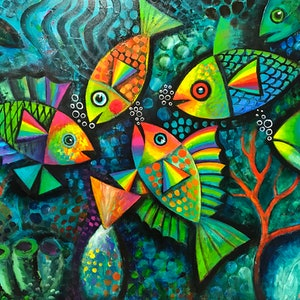 (CreativeWork) Fanciful Fish by Karin Zeller. acrylic-painting. Shop online at Bluethumb.