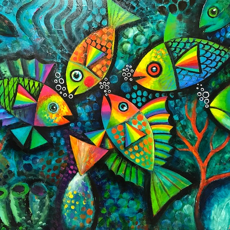 (CreativeWork) Fanciful Fish by Karin Zeller. Acrylic Paint. Shop online at Bluethumb.