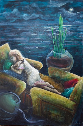 (CreativeWork) In my boat on a sea of dreams by fiona smith. Acrylic Paint. Shop online at Bluethumb.