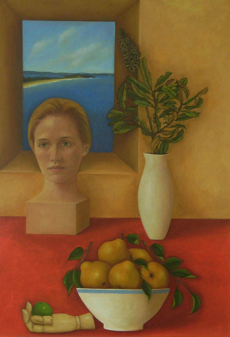 (CreativeWork) Still Life after Justin O Brien by sophie haythornthwaite. oil-painting. Shop online at Bluethumb.
