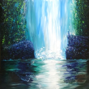 (CreativeWork) Falls by Kristyna Dostalova. arcylic-painting. Shop online at Bluethumb.