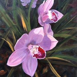 (CreativeWork) Orchids  by Shelly Du. arcylic-painting. Shop online at Bluethumb.