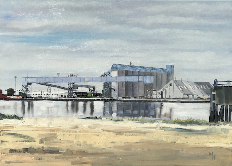 (CreativeWork) Brisbane Grain Terminal by Meredith Howse. oil-painting. Shop online at Bluethumb.