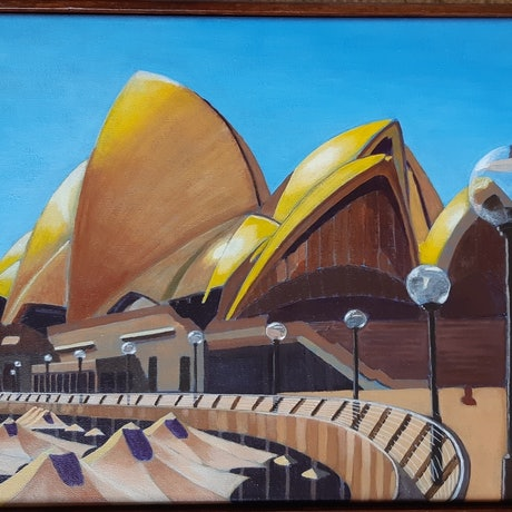 (CreativeWork) Opera House, Sydney by Hetty Thompson. Acrylic Paint. Shop online at Bluethumb.