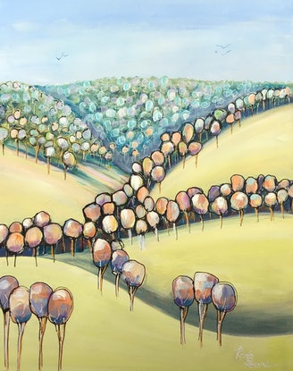 (CreativeWork) Valley of trees by Ron Brown. Acrylic. Shop online at Bluethumb.