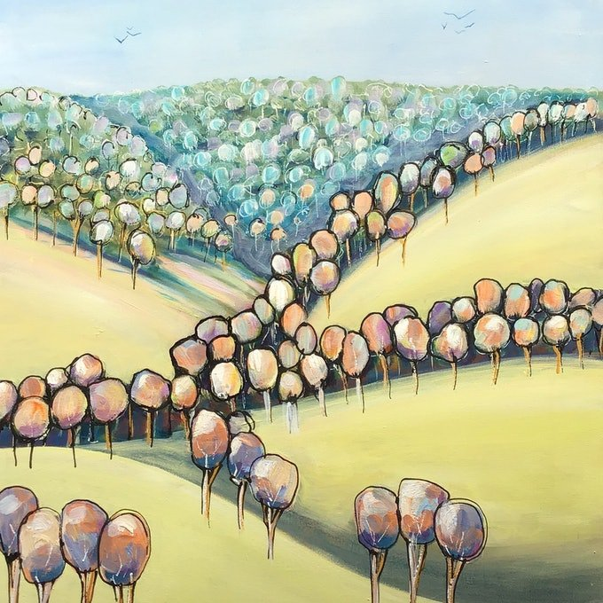 (CreativeWork) Valley of trees by Ron Brown. arcylic-painting. Shop online at Bluethumb.