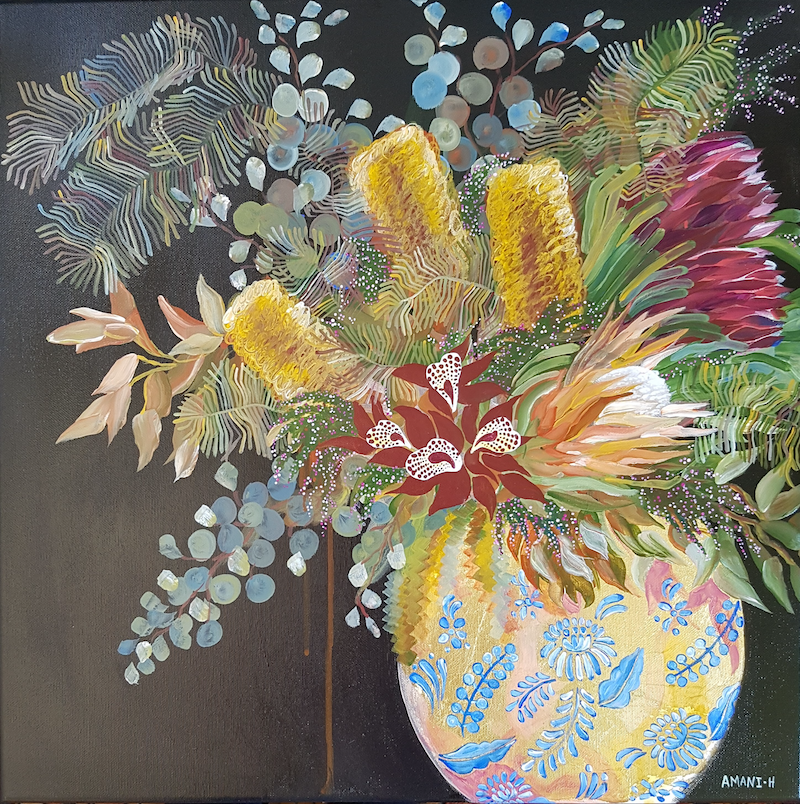 (CreativeWork) Flowers, one month  later by Amani Haydar. mixed-media. Shop online at Bluethumb.