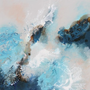 (CreativeWork) Moods of Blue by Sue Dyde. mixed-media. Shop online at Bluethumb.