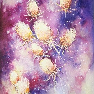 (CreativeWork) Night Whispers by Lucinda Leveille. watercolour. Shop online at Bluethumb.
