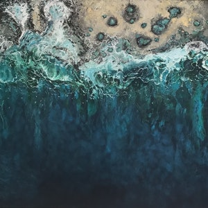 (CreativeWork) Rockpools by Annie Hawkins. oil-painting. Shop online at Bluethumb.