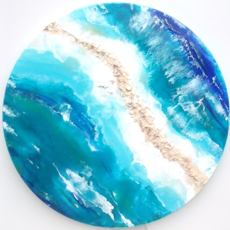 (CreativeWork) BEACH DAY AT THE ISTHMUS by Caz Brown. Resin. Shop online at Bluethumb.