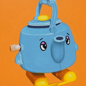 (CreativeWork) The Walking Teapot by BRETT ROSE. arcylic-painting. Shop online at Bluethumb.