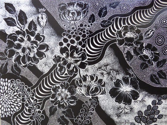 (CreativeWork) Black and White Garden by Denise Balson. Acrylic Paint. Shop online at Bluethumb.