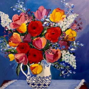 (CreativeWork) Gathered from the Garden by Claire Donaghy. arcylic-painting. Shop online at Bluethumb.