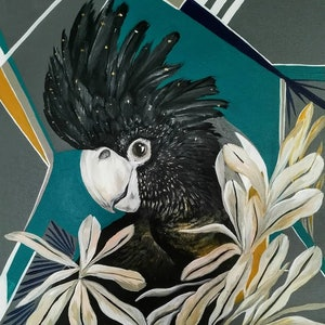 "(CreativeWork) ""Millie""Red Tailed Black Cockatoo    by Amanda Skye Mulder. arcylic-painting. Shop online at Bluethumb."