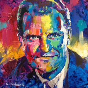 (CreativeWork) Billy Graham by Jos Coufreur. acrylic-painting. Shop online at Bluethumb.