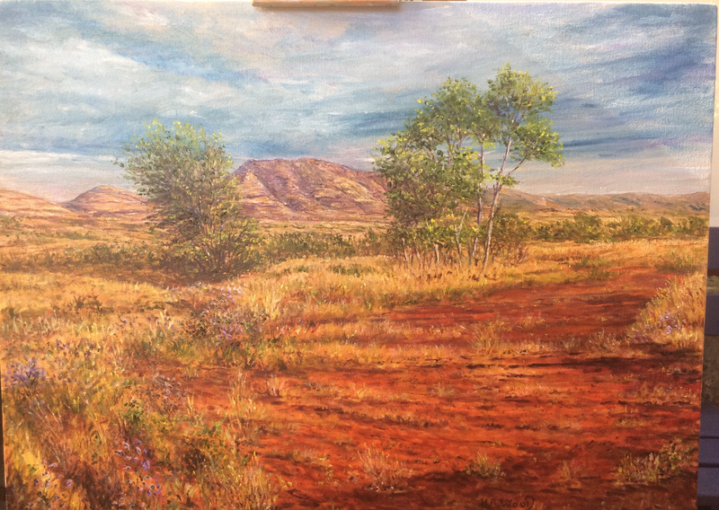 (CreativeWork) Pilbara wildflowers by Henry Wood. oil-painting. Shop online at Bluethumb.