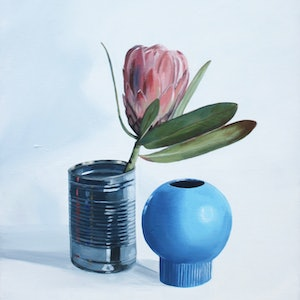 (CreativeWork) Still life with protea and baked beans can by Tom Parsons. oil-painting. Shop online at Bluethumb.