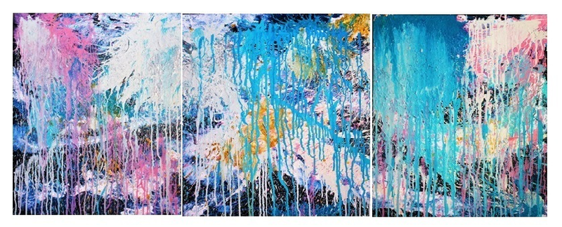 (CreativeWork) Cotton Candy  (3 for the price of 1)  3 canvas set by Wendy Hocking. arcylic-painting. Shop online at Bluethumb.