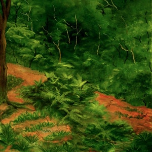 (CreativeWork) Tarkine Rainforest by Doodie Herman. arcylic-painting. Shop online at Bluethumb.