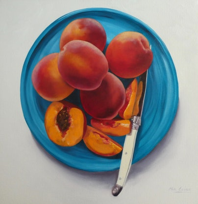 (CreativeWork) Just Peachy by Mia Laing. Oil. Shop online at Bluethumb.