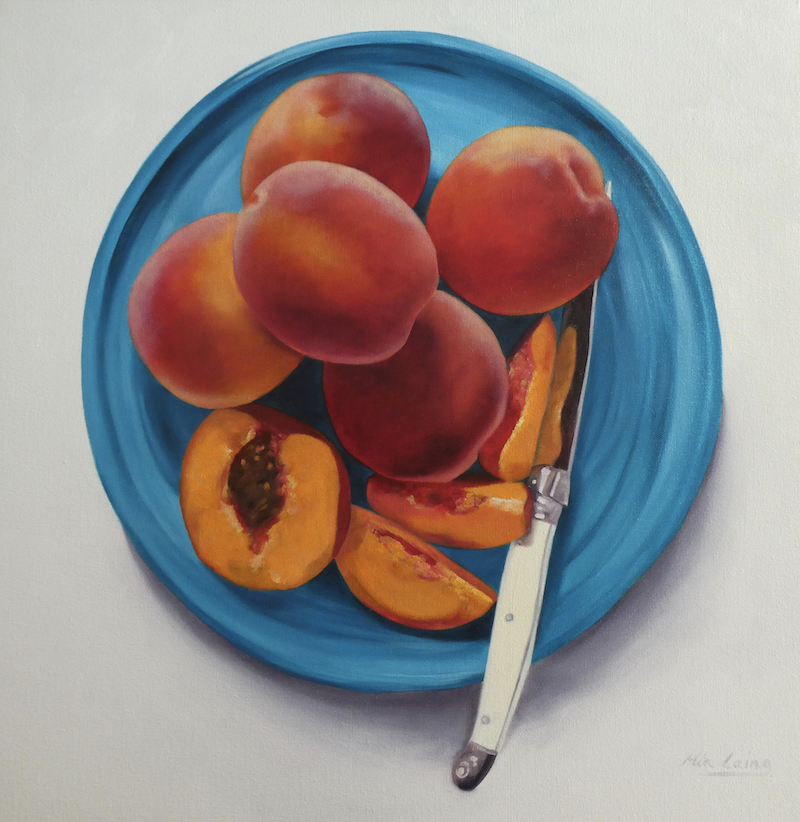 (CreativeWork) Just Peachy by Mia Laing. oil-painting. Shop online at Bluethumb.