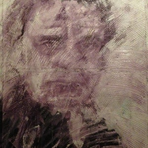 (CreativeWork) Let the bells ring Johnny Cash  by Sam Evans. arcylic-painting. Shop online at Bluethumb.