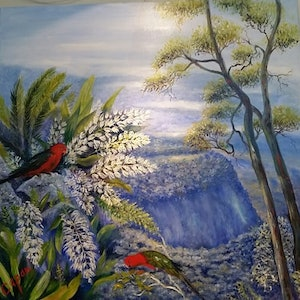 (CreativeWork) 'KINGS OF THE MOUNTAIN' by Susan Capan. oil-painting. Shop online at Bluethumb.