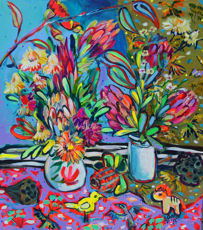 (CreativeWork) Flowers by Katerina Apale. acrylic-painting. Shop online at Bluethumb.