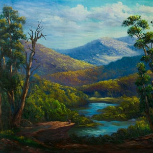 (CreativeWork) Along the snowy river, Victoria - Original Oil Painting  by Christopher Vidal. #<Filter:0x00007fb2244d85b8>. Shop online at Bluethumb.